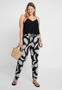 Urban Classics Curvy - LADIES ELASTIC WAIST PANTS - Trousers - black - 1