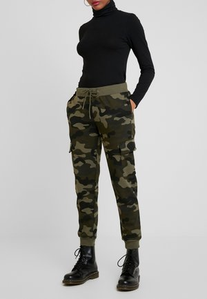 LADIES CARGO PANTS - Tracksuit bottoms - woodcamo/black