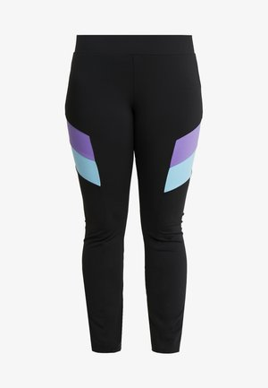 LADIES BLOCK - Leggings - black/ultraviolet