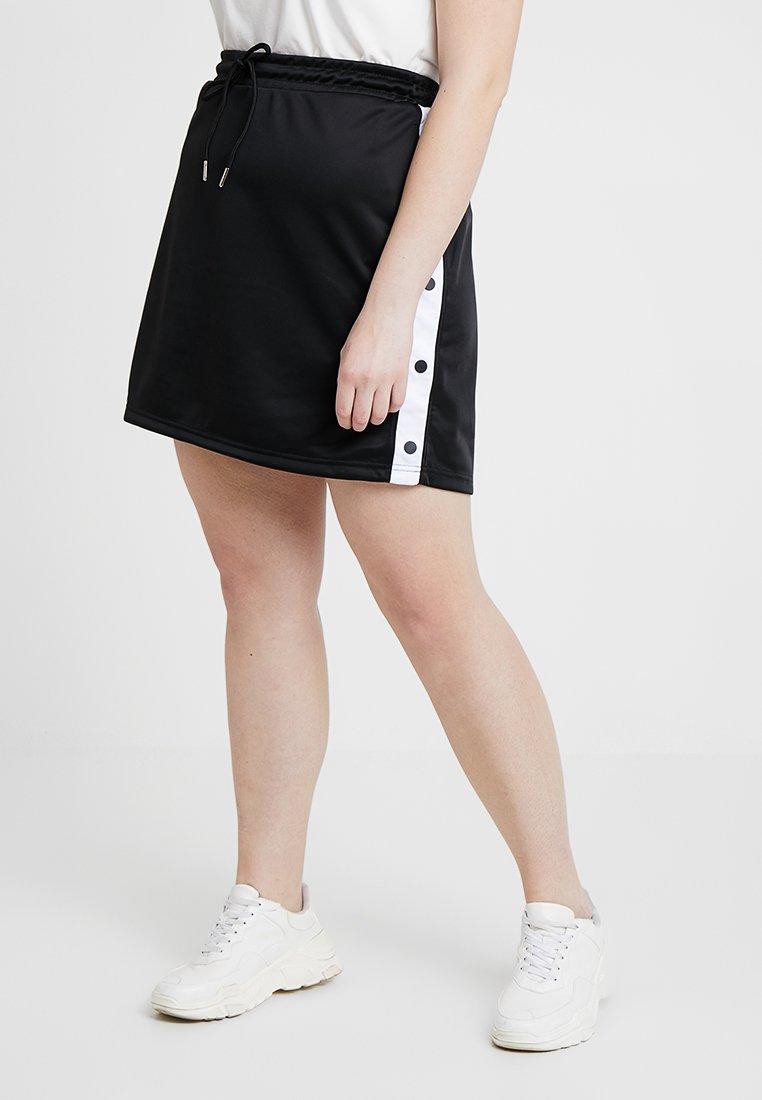 Urban Classics Curvy - LADIES TRACK SKIRT - A-line skirt - black/white
