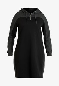 Urban Classics Curvy - LADIES TONE HOODED DRESS - Kjole - black/charcoal - 5