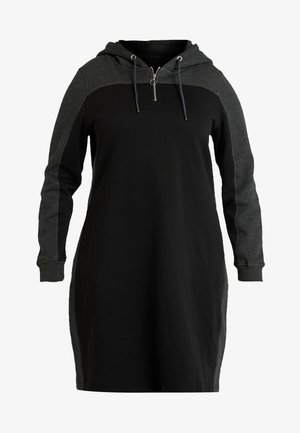 LADIES TONE HOODED DRESS - Vapaa-ajan mekko - black/charcoal