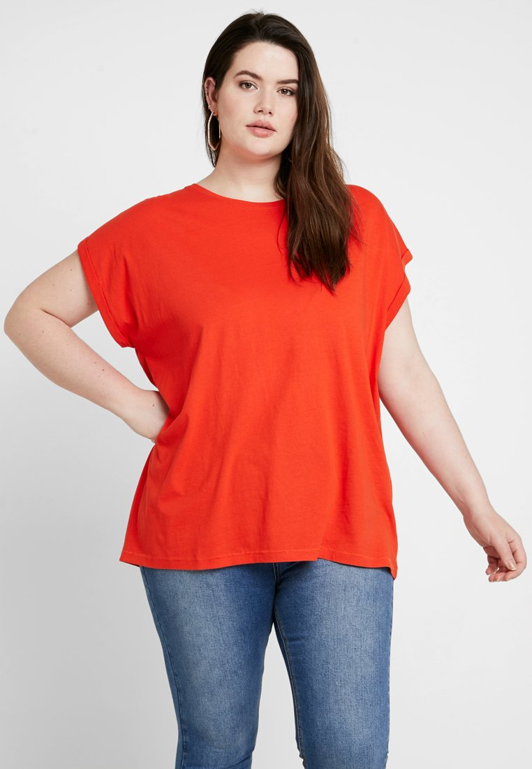 Urban Classics Curvy - LADIES EXTENDED SHOULDER TEE - Basic T-shirt - bloodorange