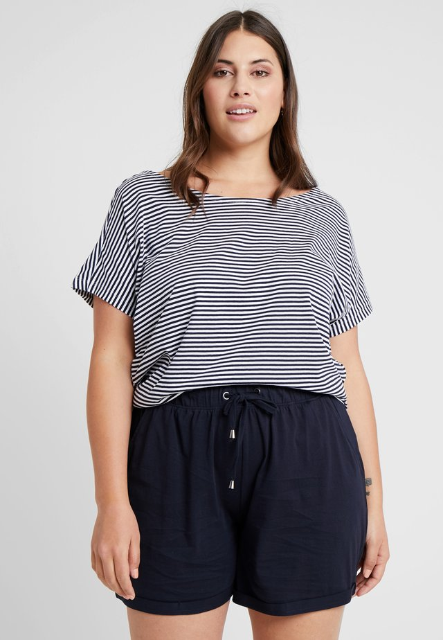 LADIES DYED BABY STRIPE TEE - Print T-shirt - navy/white