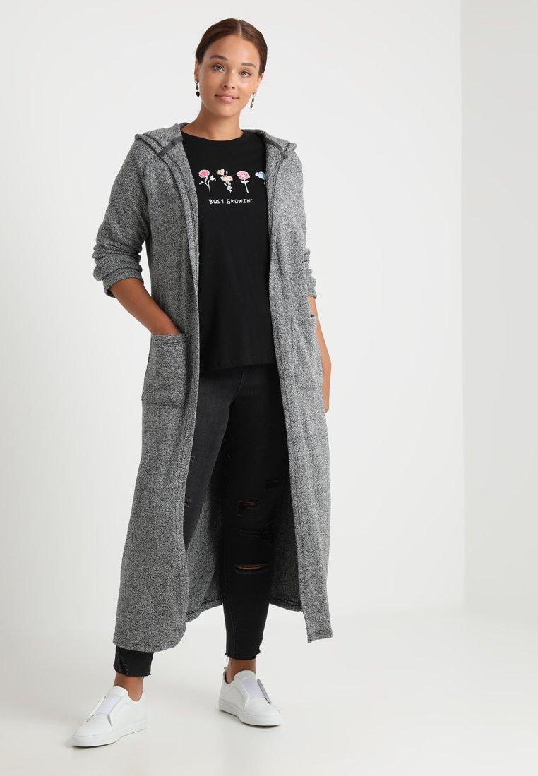 Urban Classics Curvy - LADIES LONG CARDIGAN - Vest - black/white