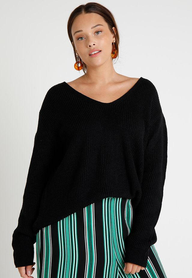 LADIES BACK LACE UP - Jumper - black
