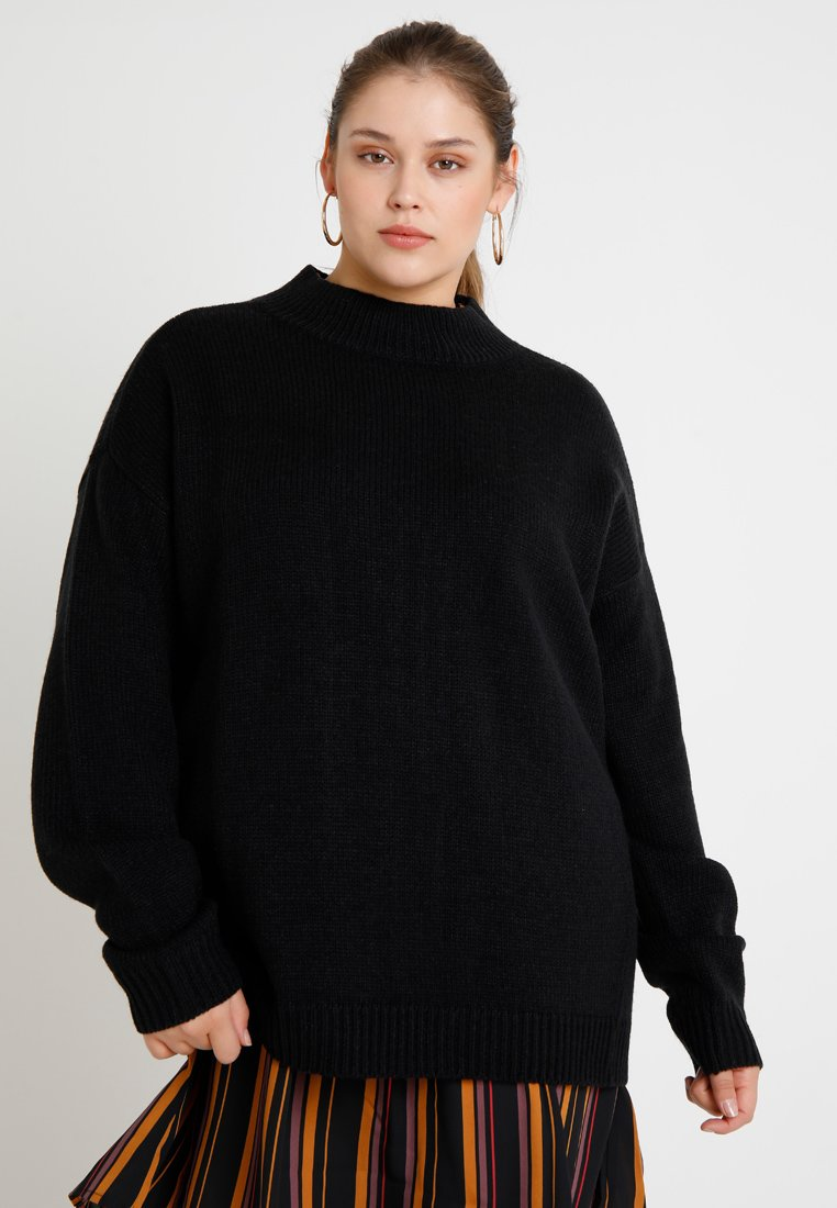 Urban Classics Curvy - LADIES OVERSIZE TURTLENECK - Strickpullover - black