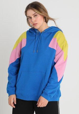 LADIES OVERSIZE TONE BLOCK - Hoodie - bright blue/lemon mustard/cool pink