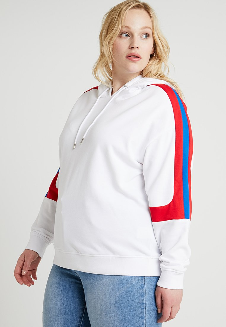 Urban Classics Curvy - LADIES PANEL TERRY HOODY - Kapuzenpullover - white/firered/brightblue