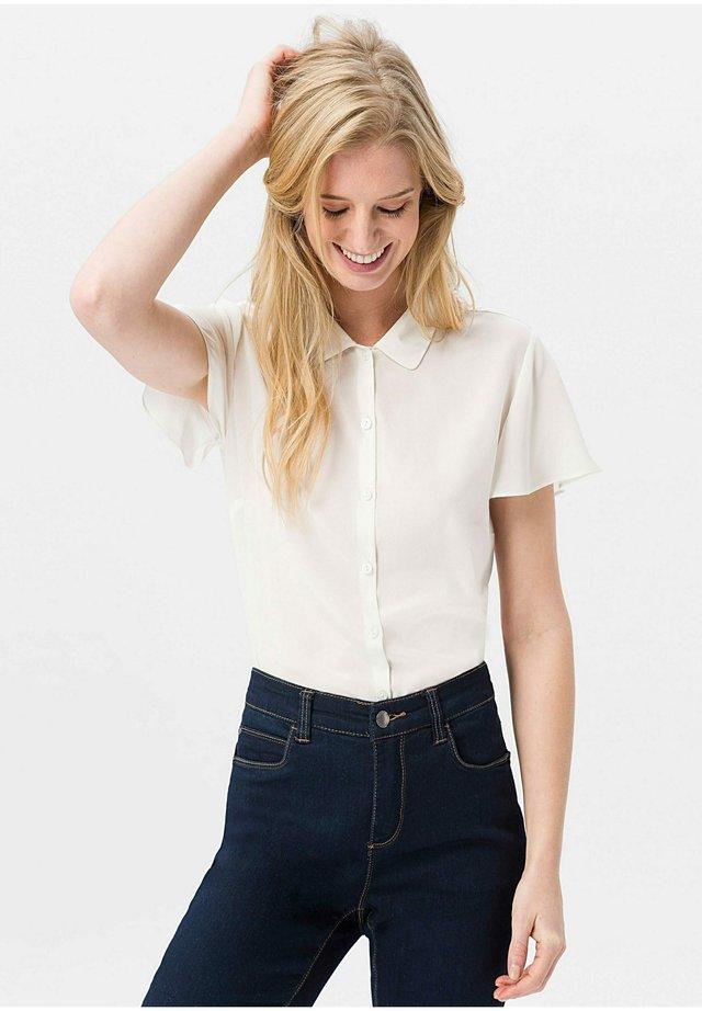 BLUSE MIT SEIDE - Button-down blouse - offwhite