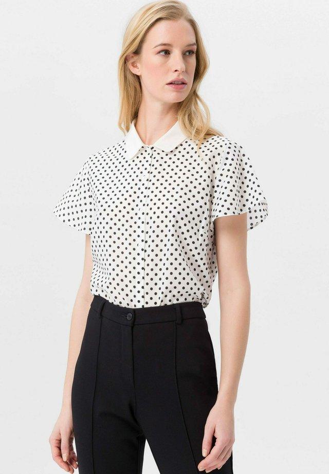BLUSE FLÜGEL-HALBARM - Button-down blouse - offwhite/schwarz
