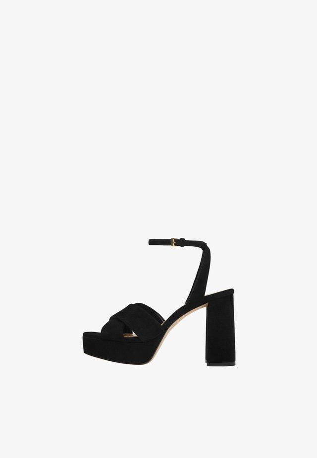 WILDLEDERSANDALE MIT PLATEAUSOHLE 16511680 - High heeled sandals - black