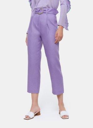 MIT SCHNALLE  - Kalhoty - dark purple