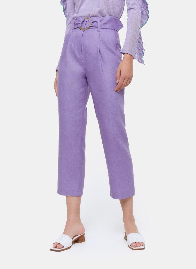 MIT SCHNALLE  - Trousers - dark purple