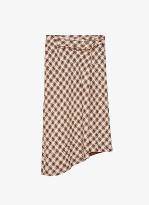 MIT SCHNALLE  - A-line skirt - brown