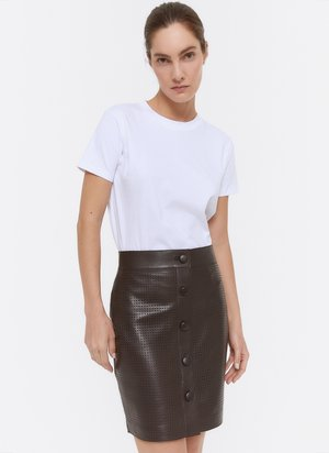 MIT STANZMUSTER - A-line skirt - brown