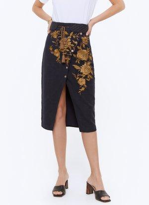 MIT STICKEREI - Spódnica trapezowa - dark blue