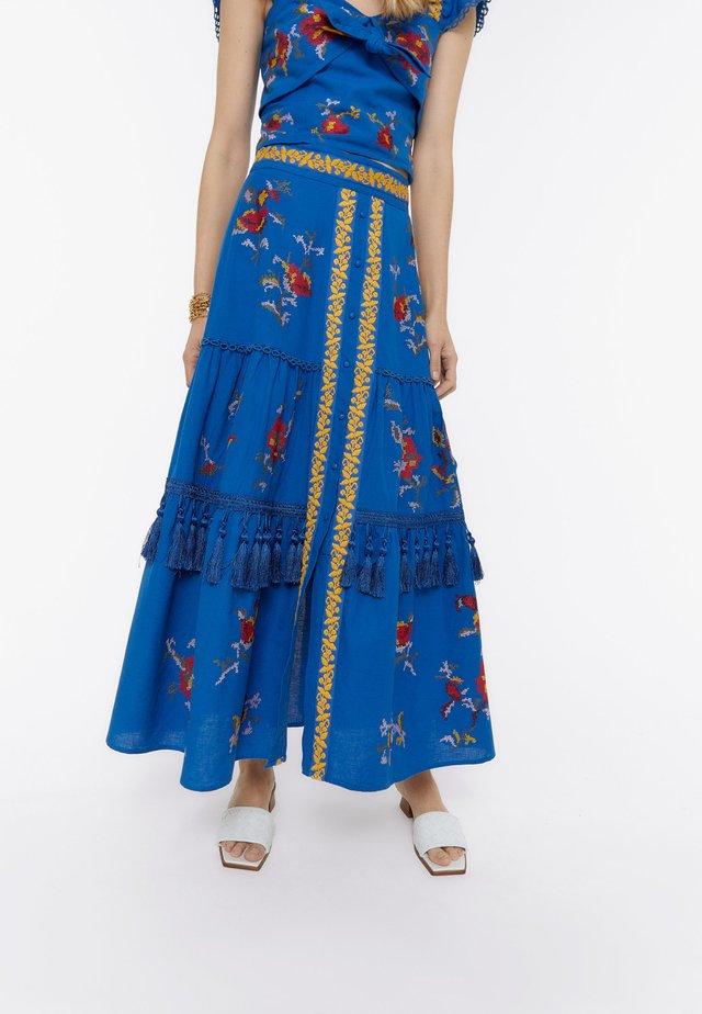 MIT STICKEREIEN  - A-line skirt - dark blue