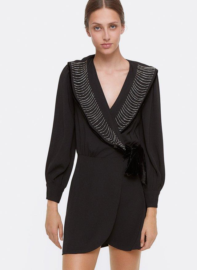 MIT STICKEREIDETAIL  - Korte jurk - black