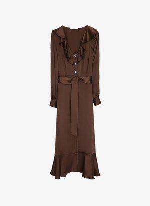 MIT SCHMUCKKNOPF  - Abito a camicia - brown