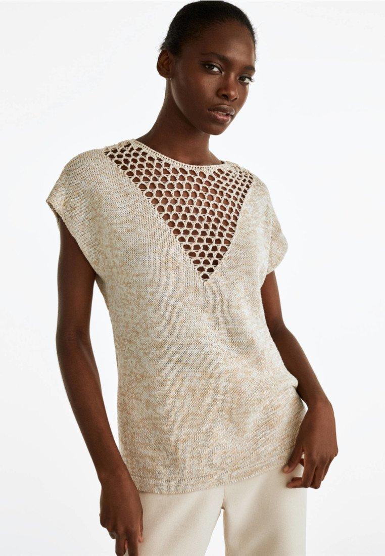 Uterqüe - MIT V-AUSSCHNITT UND LOCHMUSTER - T-Shirt print - beige