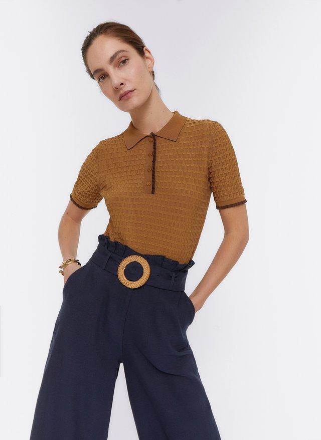 MIT EINGEARBEITETEM MUSTER  - Koszulka polo - brown