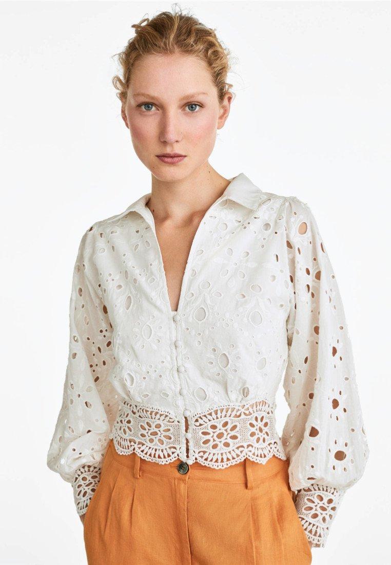 Uterqüe - Button-down blouse - beige/off white