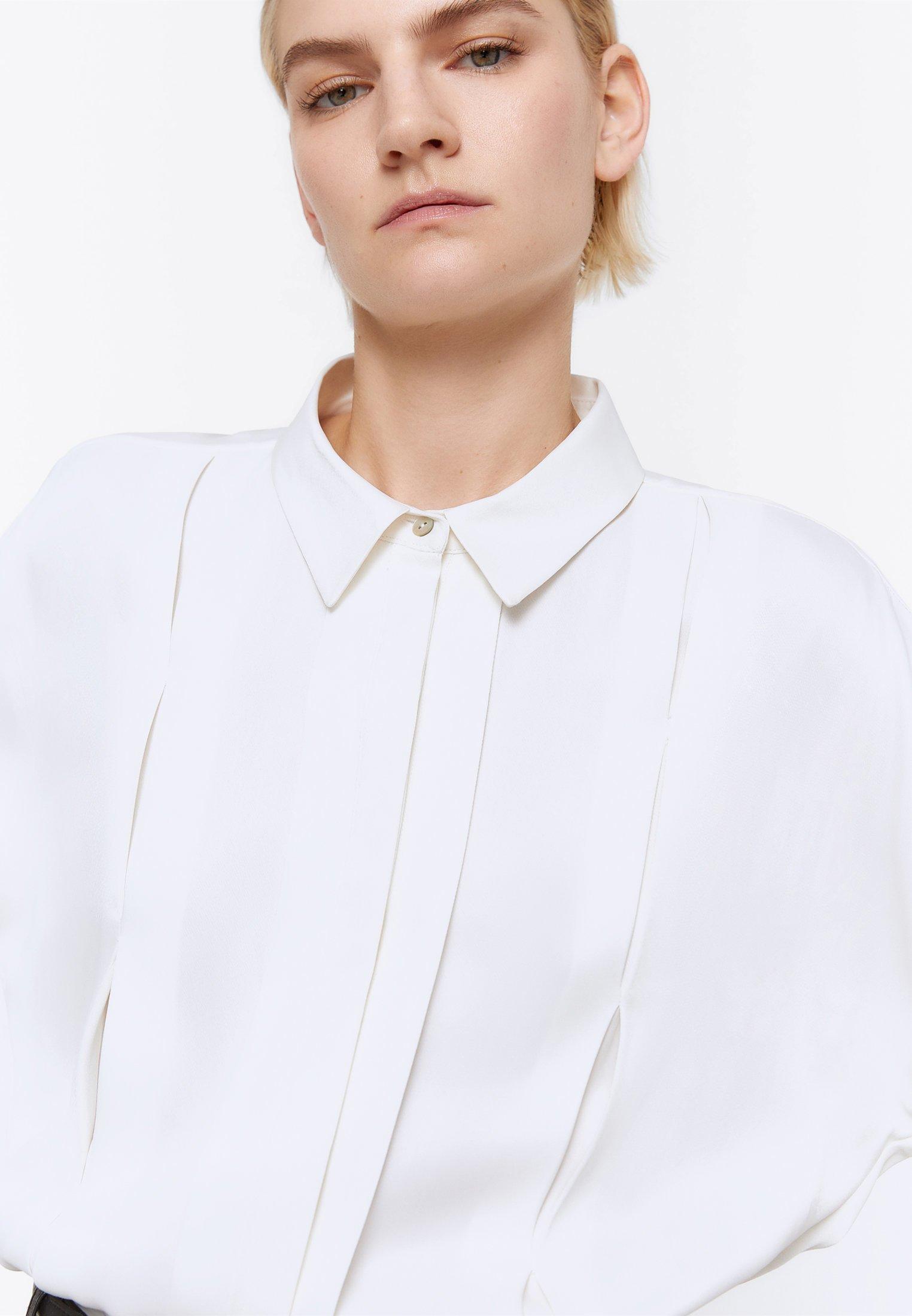 Uterqüe Mit Zierfalten - Skjorta White