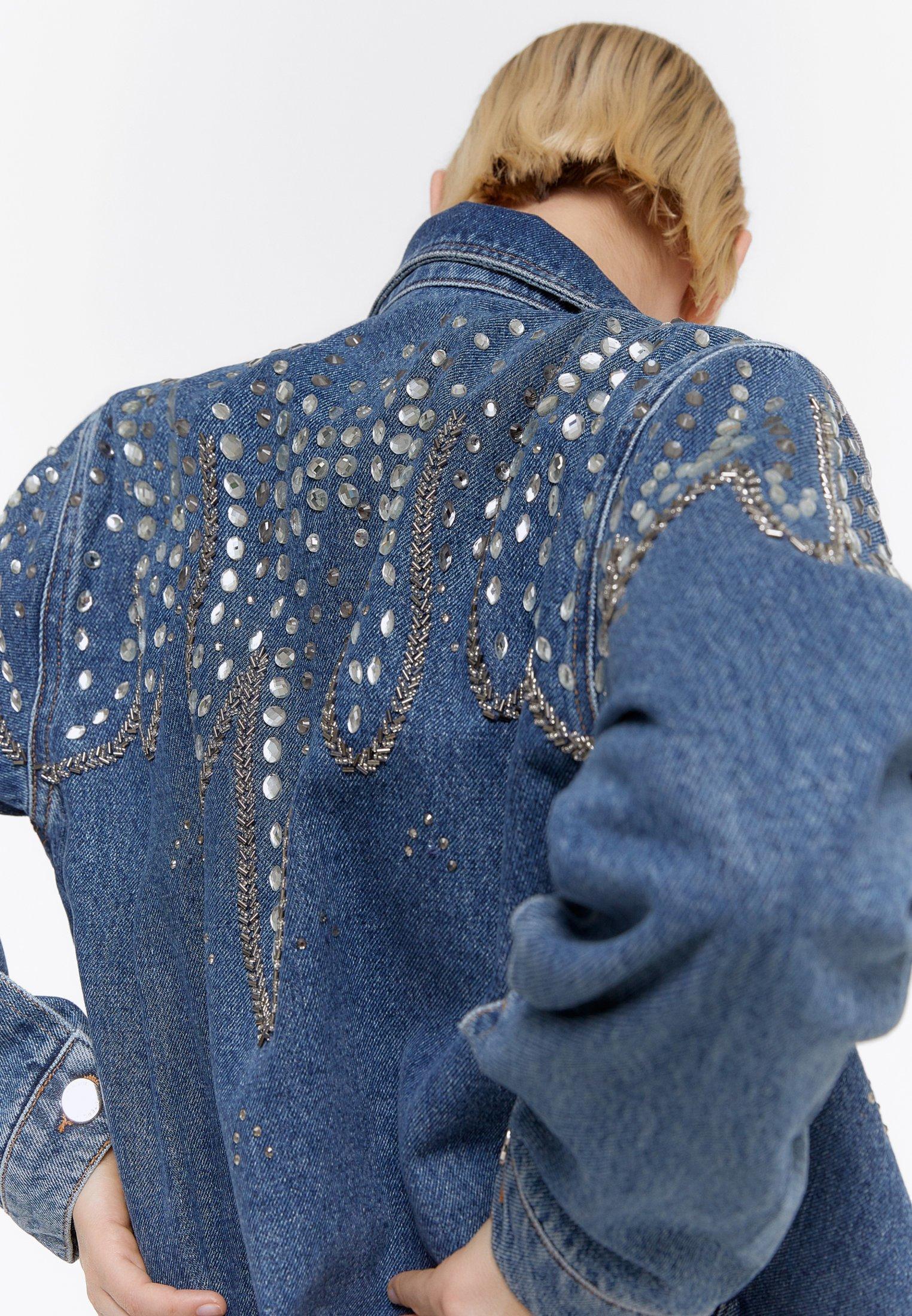 Uterqᄄᄍe Mit Stickereien - Spijkerjas Blue