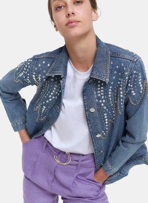 MIT STICKEREIEN - Giacca di jeans - blue