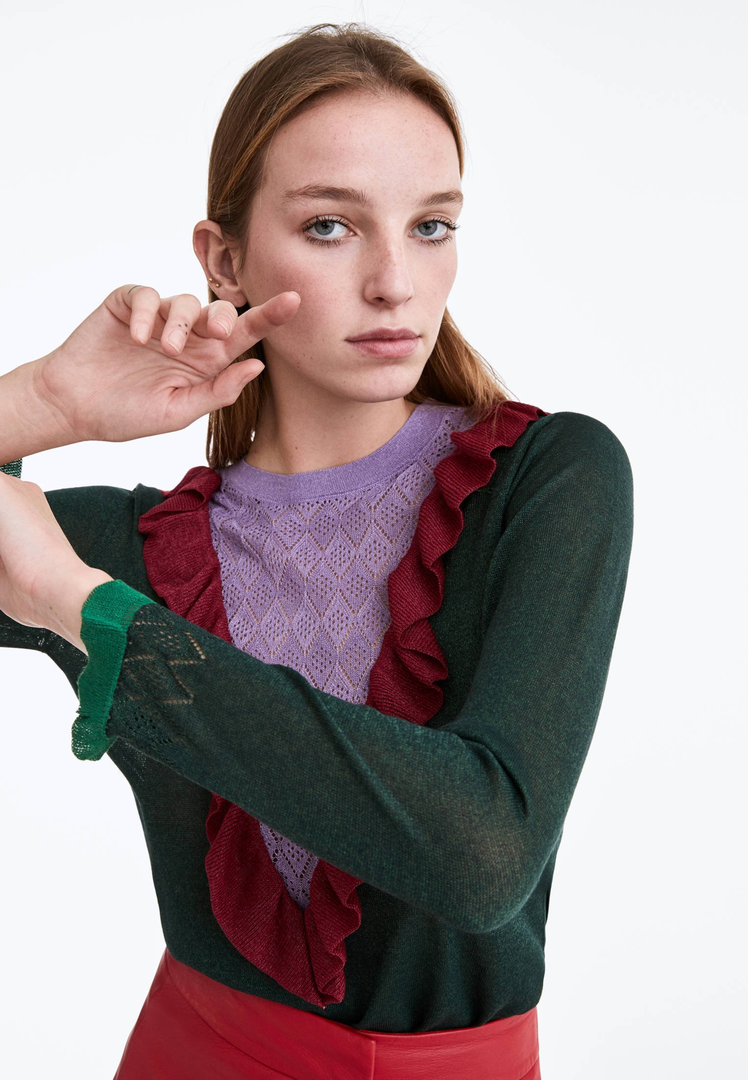 Uterqüe Mit Volant - Strikpullover /striktrøjer Green