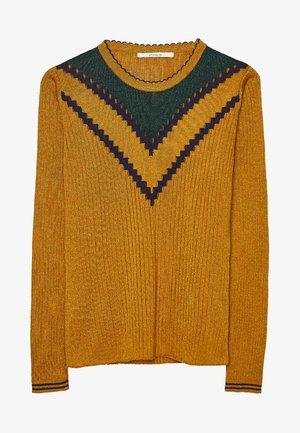 MIT RUNDAUSSCHNITT - Pullover - mustard yellow