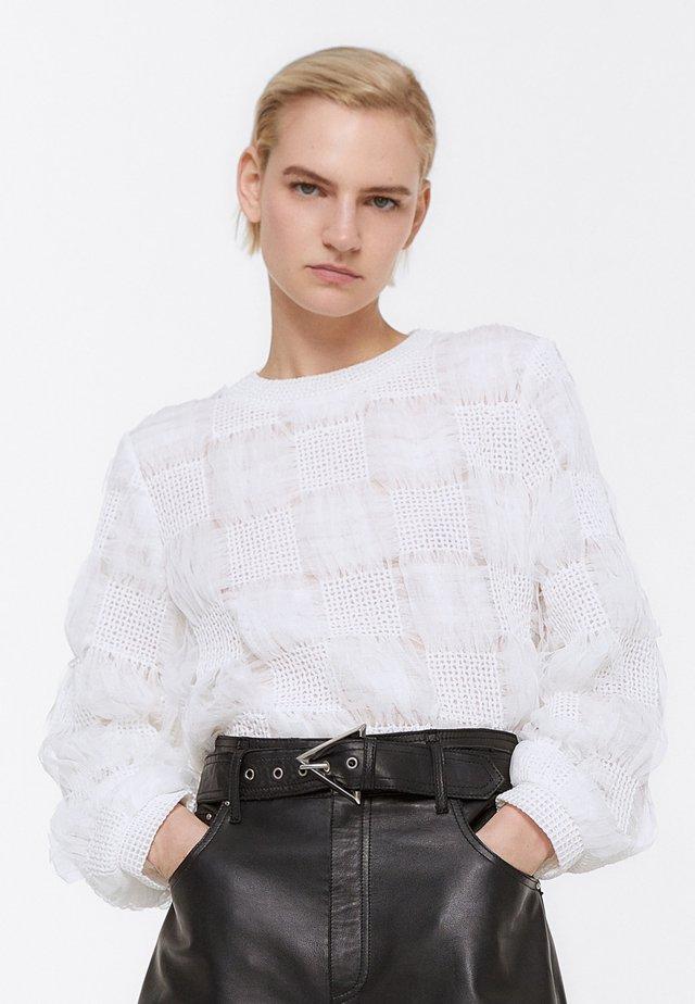 MIT TRANSPARENTEN KAROS - Sweter - beige