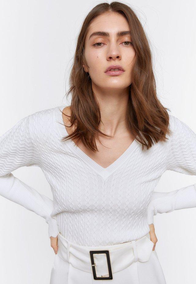 STRICKPULLOVER MIT V-AUSSCHNITT 01038450 - Sweter - beige