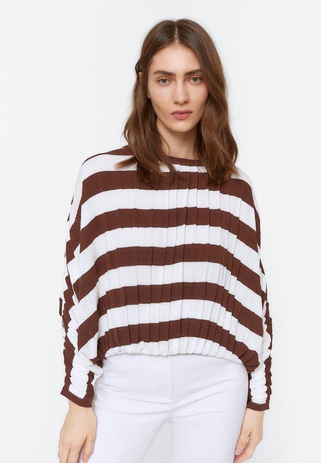 ZWEIFARBIGER STRICKPULLOVER 01054450 - Sweter - brown