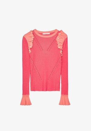 GERIPPTER PULLOVER MIT VOLANTS UND PERLEN 01047450 - Stickad tröja - neon pink