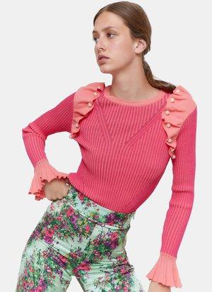 MIT VOLANTS UND PERLEN  - Jumper - neon pink
