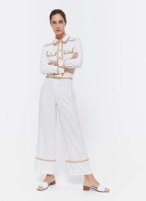 MIT PASPELN UND PERLENKNOPF  - Jumpsuit - white