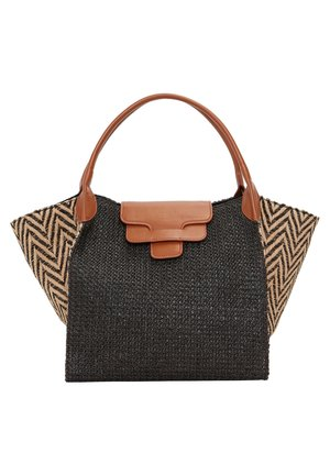 SHOPPER AUS ZWEIFARBIGEM RAPHIA 01216709 - Shopping bag - black