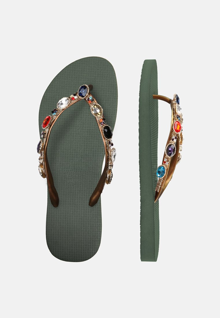 Uzurii COLORFUL ROMY - T-bar sandals - armygreen