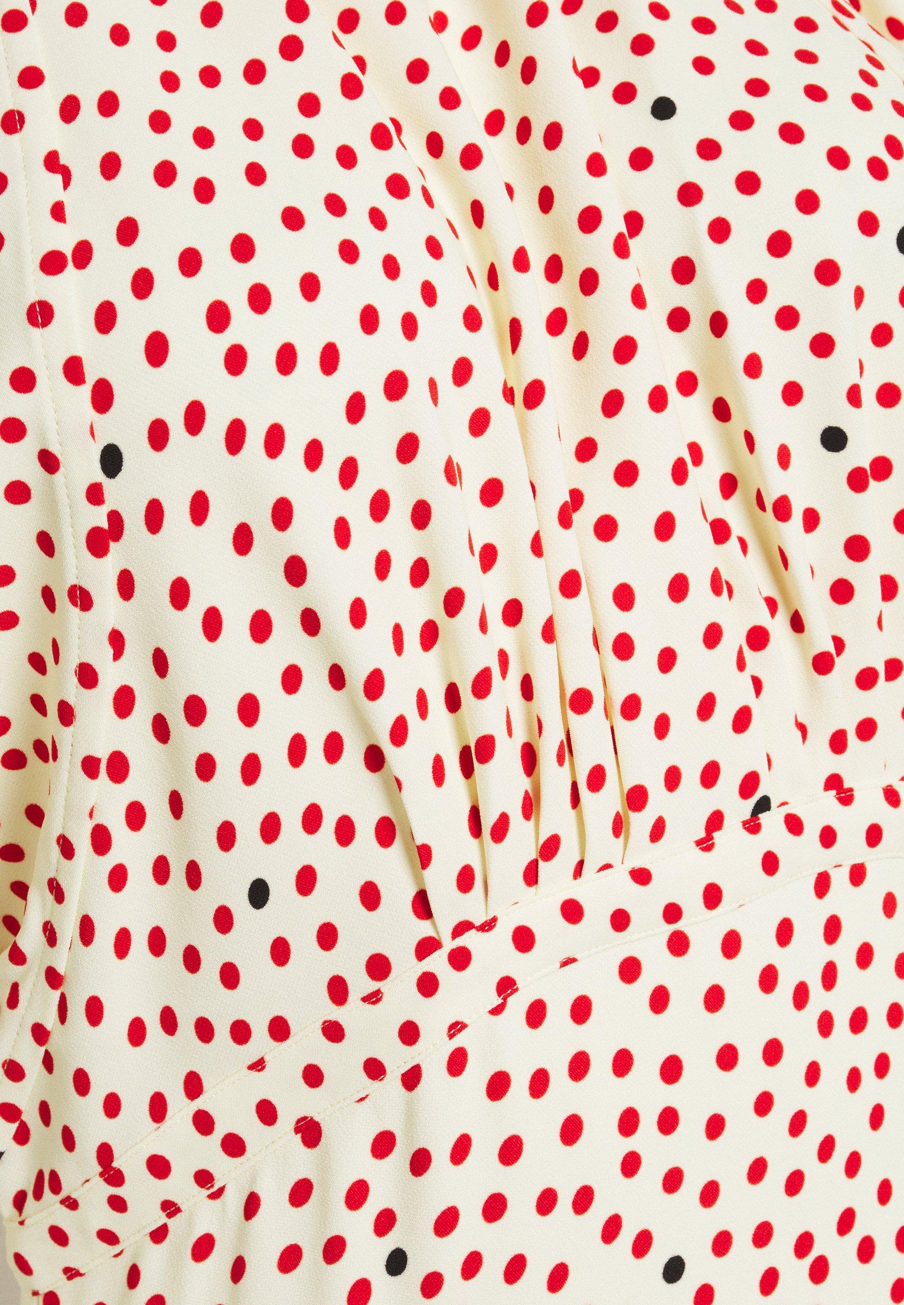 Victoria Beckham GATHERED FLARE MIDI Freizeitkleid cream red/rot