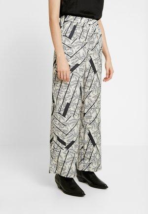 Pantalon classique - sandshell/flowers/strips black
