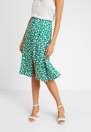 VIKAILI MIDI SKIRT - A-linjainen hame - fir/cloud dancer