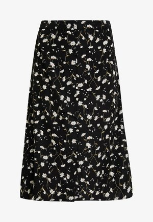 VINCENTA FLOWER PRINT SKIRT - Falda acampanada - black