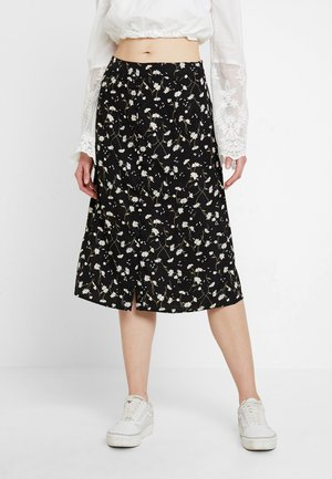 VINCENTA FLOWER PRINT SKIRT - A-linjainen hame - black