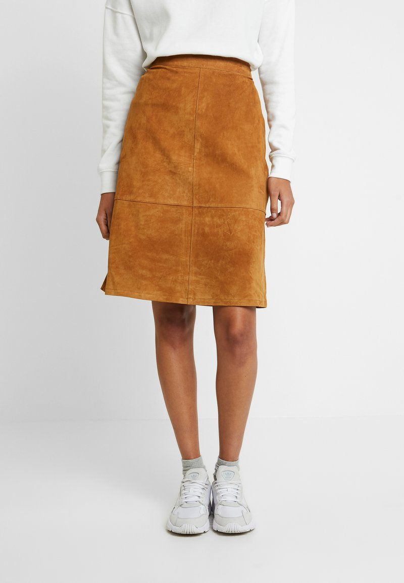 Vila - A-line skirt - dusty camel