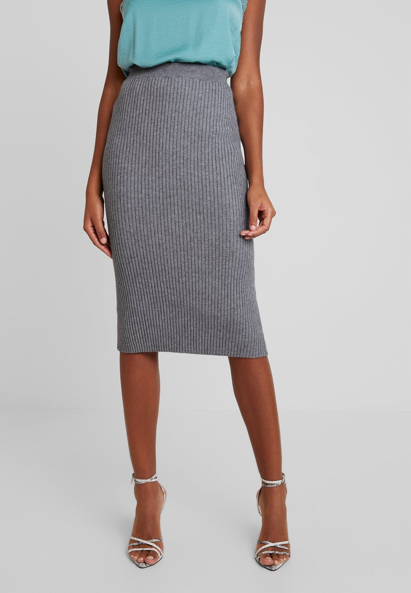 Vila - VIOLIV PENCIL SKIRT - Bleistiftrock - medium grey melange