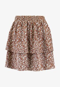 Vila - Mini skirt - caramel café/white/blue - 3