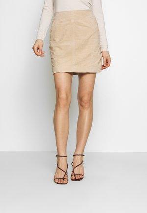 VISUSA SKIRT - Leather skirt - brown