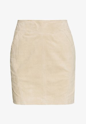 VISUSA SKIRT - Leather skirt - brown
